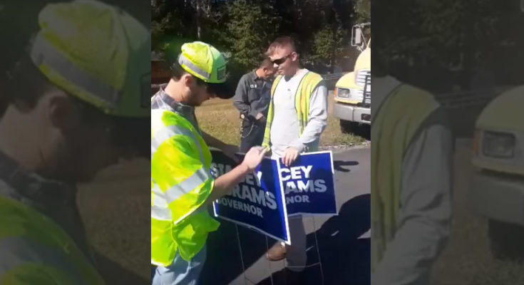GDOT Working for Kemp to Remove Abrams Signs