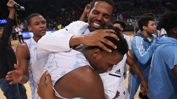 Meadowcreek boys coach Curtis Gilleylen celebrates the Mustangs' state championship following the 2018 title game